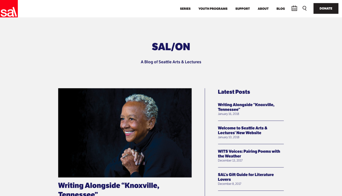 Follow us to Seattle Arts & Lectures' New Blog,SAL/ON!